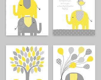 Gray and Yellow Elephant Nursery Decor, Elephant Baby Prints, Before You Were Born Nursery Poem, Gender Neutral, Elephant Wall Art, Canvas