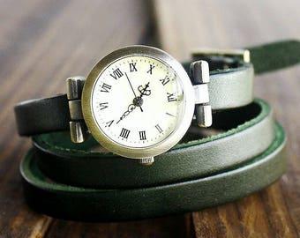 Leather bracelet, wristwatch in green, wrap bracelet