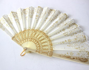 Handfan,abanico,wedding fan,ivory and gold