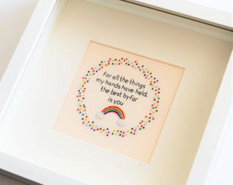 Rainbow Hand Embroidery Framed Textile Art Inspirational Quote New Baby 10 x 10 inches