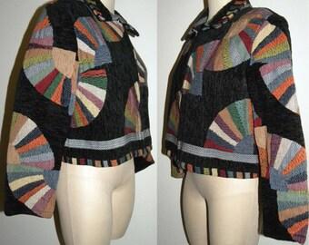 1980s 80s Tapestry Jacket / Cotton Cropped / Novelty FAN Pattern / Asian Inspired / Gypsy Boho Bohemian / Vintage