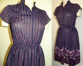 1970s 70s Semi Sheer Dress / Purple Floral / Vintage / fits XS - S