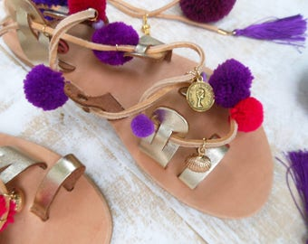 UNIQUE Sandals! Boho Sandal, Pompom Sandals, High Quality Lace up Greek Leather Sandal, Hippie Purple and Hot-Pink Shades, Bohemian Sandals