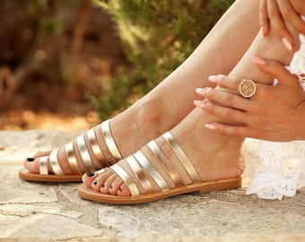 MULTI-GOLD MYCENAE Sandals from Greece, Natural Leather Sandals with Many Straps, Boho Hippie Style Leather Sandals, Enotia Sandals