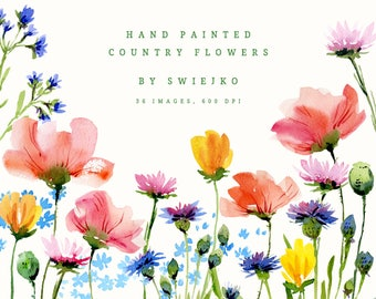 Digital Watercolor Florals, Country Flowers Clipart, hand painted garden, wedding