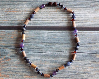 12.5 Inch Digestive System Health Support Baltic Amber, Gemstone, and Hazelwood Necklace Knotted on Silk