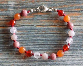 """6.5"""" Women's Sexual & Reproductive System Health Support Gemstone Bracelet Knotted on Nylon with Sterling Silver Findings Healing Crystals"""