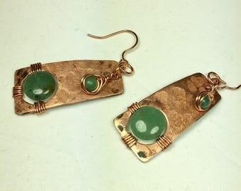 Green aventurine earrings, copper earrings, dangling earrings, wire wrapped earrings, gemstone earrings,