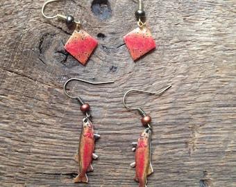Cutthroat trout earrings set: Cutthroat trout earrings and cutthroat trout skin earrings, trout earrings, fly fishing earrings, fly fishing