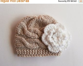 ON SALE 10% SALE Newborn Baby Girl Hat , Baby Hat Photo Prop , Knit Baby Hat , Crochet Flower Hat ,Photo Prop