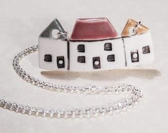 Porcelain House Village Necklace