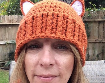 Red Fox Beanie, Crochet Red Fox Hat,Winter Hat, Fox Beanie, Animal hat, Animal Hat,all sizes to adult made to order