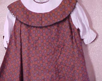 Vintage Kate   Greenaway Red Print Dress, Buttons down back, Adorable #3203