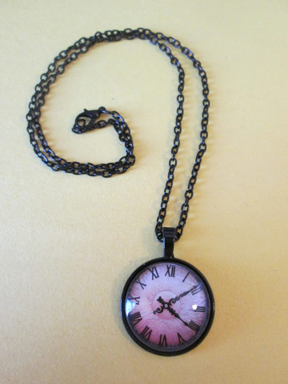 """1 New Antiqued Look Domed Glass Clock Theme Necklace 1"""" Wide with an 18"""" Black Chain"""