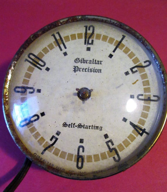 "Old and Worn Partial Vintage 3 1/2"" Gibraltar Precision Electric Clock for Parts - Repairs - Steampunk Art - Crafts"