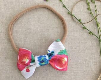 Baby/Child/Newborn/Girl's Bright Floral Mini Ribbon Hair Bow Headband OR Alligator Hair Clip