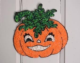 Melted Plastic Popcorn Smiling Pumpkin, Retro Plastic Cute Orange Jack o Lantern, Child Friendly Halloween Wall Hanging Door Decor Window