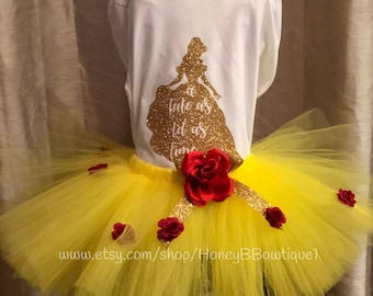 Belle Tutu Outfit, Beauty and the Beast Tutu Outfit, Beauty and The Beast Birthday Tutu, Belle Birthday Tutu, Tale As Old As Time BB2