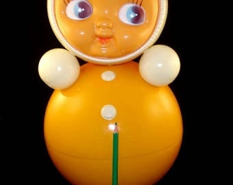 """Vintage Old Beautiful Russian Roly Poly Doll, Nevalyashka Giant size 15"""", Russian Soviet Celluloid RoLy-PoLy Ding Doll Baby doll"""