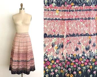 vintage 1940s skirt | 40s floral boarder print skirt