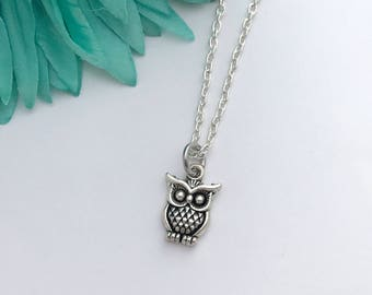 Owl necklace -  wise owl  with chain necklace - fun necklace - silver necklace with lobster clasp - great gift - comes wrapped