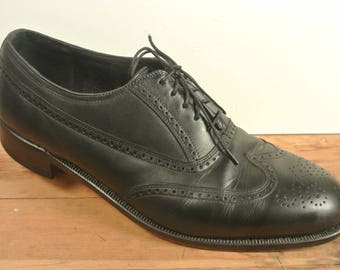 Florsheim Black Brouged Wing Tip Balmoral Men's Size: 11D