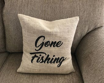 Burlap Pillow Cover, Gone Fishing Pillow Cover, Burlap Outdoor Pillow Cover