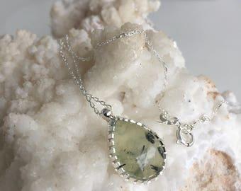 Sterling Silver Handmade Neacklace with Prinite Gemstone