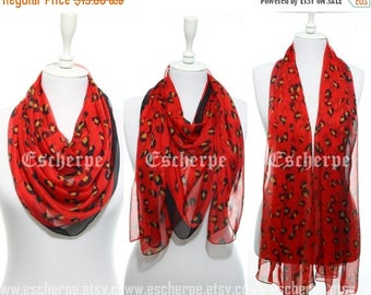 Red Leopard Silky Chiffon Lightweight Woman Scarf Wrap Woman Accessory Valentine's Day Gift Ideas For Her Girlfriend Spring Summer Fashion