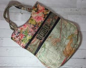 Large Tote in Floral / Map / Travel theme - Adjustable Cross Body Strap, Zip Pockets, Shoulder Bag, Purse, Tim Holtz, Expedition, Eclectic