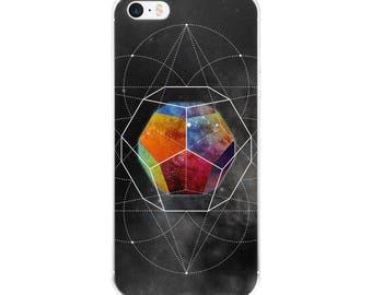 iPhone 5/5s/Se, 6/6s, 6/6s Plus Case - Space Geometry Rainbow Hex iPhone Case