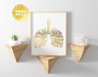 Lung Anatomy Art - Gold Foil - Anatomy Decor - Lung Art Print - Med Student Gift - Medical Office Decor - Anatomy Wall Art - Medical Gifts