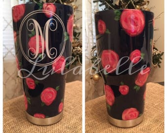 Hand painted floral tumbler