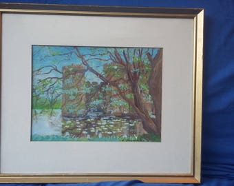 Large Original Painting Picture Bodiam Castle.