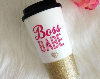 Boss Babe Glitter Dipped Travel Mug