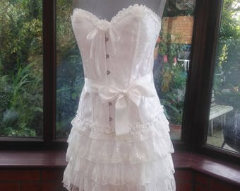 burlesque steampunk victorian style white brocade corset all boned with lace frilled skirt large size