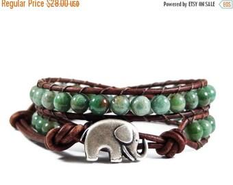 SALE Leather Wrap Bracelet African Jade Gemstones Elephant Button Beaded Jewelry