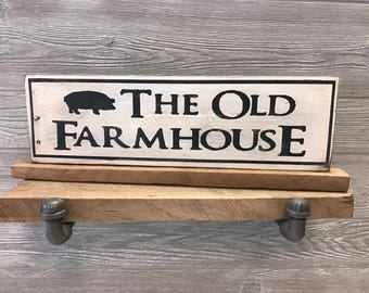 Farmhouse Style Kitchen Decor The Old Farmhouse Accent Decor Shelf Piece Rustic Reclaimed Wood Distressed Pig Art