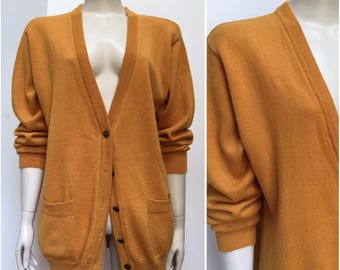 Vintage MUSTARD pure wool long length cardigan w pockets