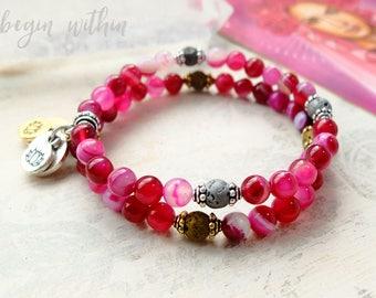 Hot Pink Gemstone Diffuser Bracelet | Pink Agate Aromatherapy Bracelet with Lava Stones | Essential Oil Bracelet