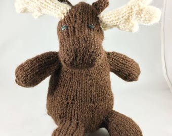 Handmade knit moose, 7 inches.  Sorry no squirrel
