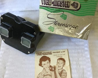 View Master Stereoscope Viewer for Picture Reels with Box and Ad 1050's Sawyer's Portland Oregon