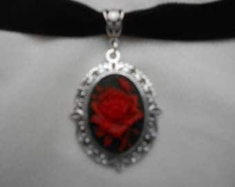Red on Black Rose Cameo Choker