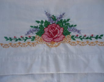 Hand Embroidered Vintage Pillowcase