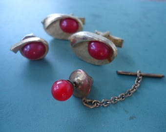 Vintage Red Moonstone Cufflink Set
