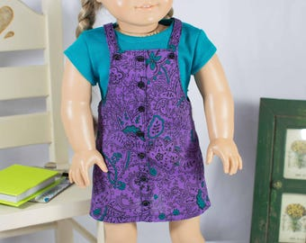 American Girl or 18 Inch Doll DRESS Jumper Purple Teal Black with HAIRBOW and SHOES Option