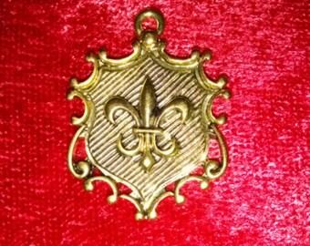 Fleur-De-Lis Crest Shield pendant