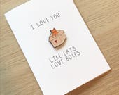 Enamel Pin valentine Greeting Card / i love you like cats love boxes