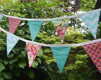 Handmade Fabric Bunting Vibrant Orange/Turquoise Floral/Turquoise Chevron/Orange Dot Design 16 Double-Sided Flags for Home, Parties and more