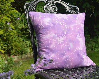 "Handmade 16""x16"" Cotton Cushion Pillow Cover in Lilac/Mauve Fossil Fern Design Print"